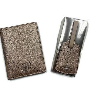 Coach Gold Glitter Passport and Luggage Tag Set